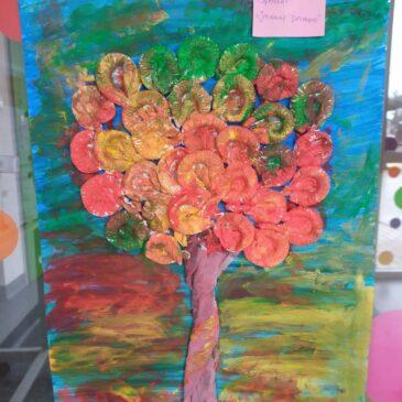 Praca plastyczna – Jesienne drzewo